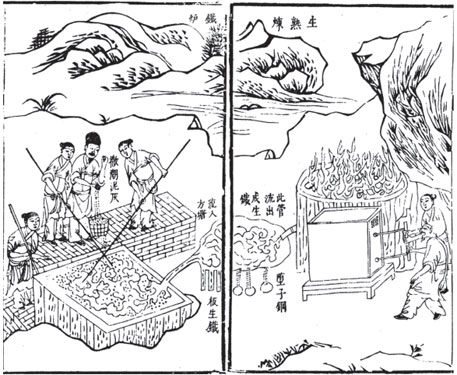 An illustration showing Chinese workers smelting iron ore, a technique they knew in the 11th century
