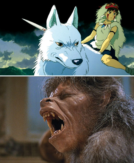 While Princess Mononoke (above) shows the wolf as a companion, An American Werewolf in London (bottom) plays on fears about it being an evil monster