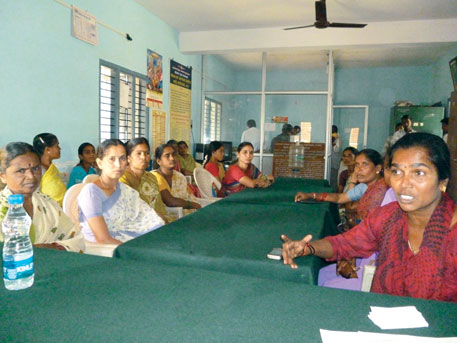 Mahila gram sabha in progress in Hadinaru panchayat, Mysore district