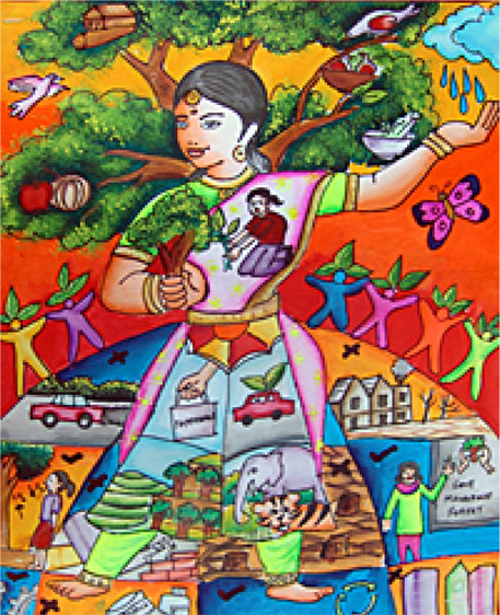 A painting depicting nature and agroforestry by V Niharika, a school student from Pudur in Coimbtore, was displayed at the agroforestry congress venue in Delhi