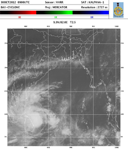 Satellite image of cyclone Nilam