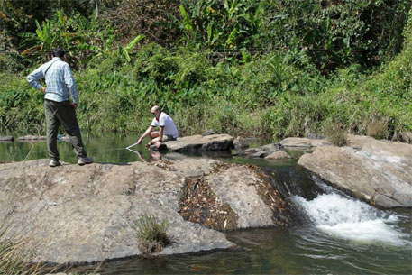 Researchers engaged in underwater filming to assess small fish stocks in one of the tributaries of the Cauvery (Photo: The Mahseer Trust Facebook page)