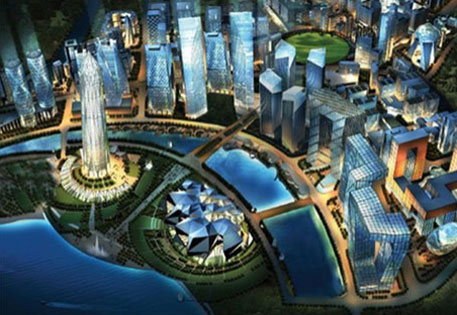 An artist's impression of under-construction GIFT smart city in Gujarat