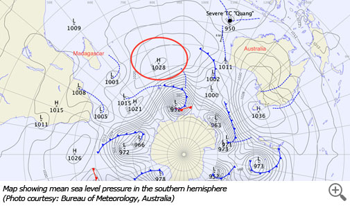 Map showing mean sea level pressure in the southern hemisphere (Photo courtesy: Bureau of Meteorology, Australia)