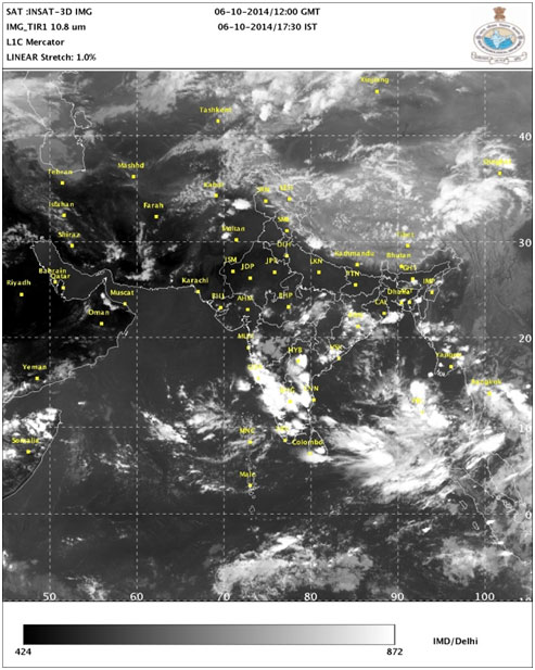 Infrared satellite imagery shows thunderstorms organising and intensifying over the Bay of Bengal (Photo courtesy: IMD/Delhi )
