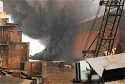 The fire in an oil tanker at<