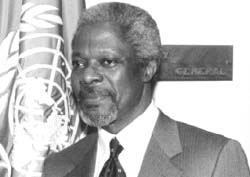Kofi Annan: all geared to face (Credit: Milton Grant / UNDPI)