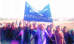 Villagers march to revive the Meghal river