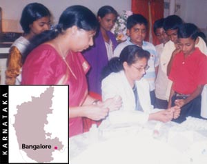 Collect blood samples (Credit: Photograph: NRCLPI / Bangalore)