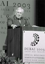 Wolfensohn: speaking up for a< (Credit: WORLD BANK)
