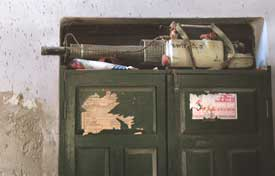 -Art of the state: a fogging machine, rusting away