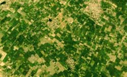 A satellite image of farms in<