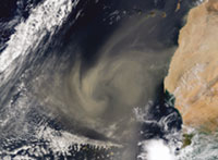 Dust storm: Hurricane in the m (Credit: NASA)