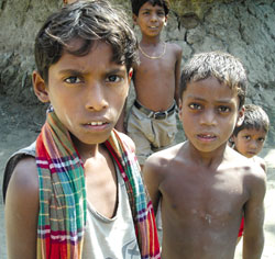 Children in Ghoramara. One of<