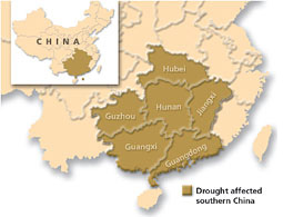 Southern China faces the worst drought
