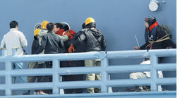 Japanese whalers free activists, chase continues