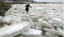 Thawing ice triggers Yellow River flood