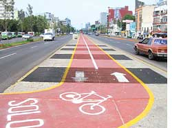 An empty bicycle track in Mexi