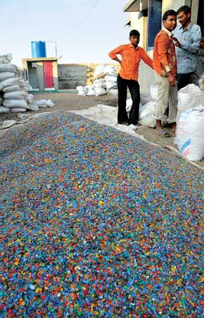 A plastic recycle plant in Raj