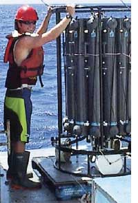 A scientist lowers the rosette that releases sample bottles into the ocean (Credit: WILLIAM LANDING / FLORIDA STATE UNIVERSITY)