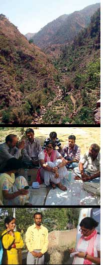 People in Shakrori (above) and Jankhooni discuss how to save their forests (top) from mining (Credit: NIDHI AGARWAL)