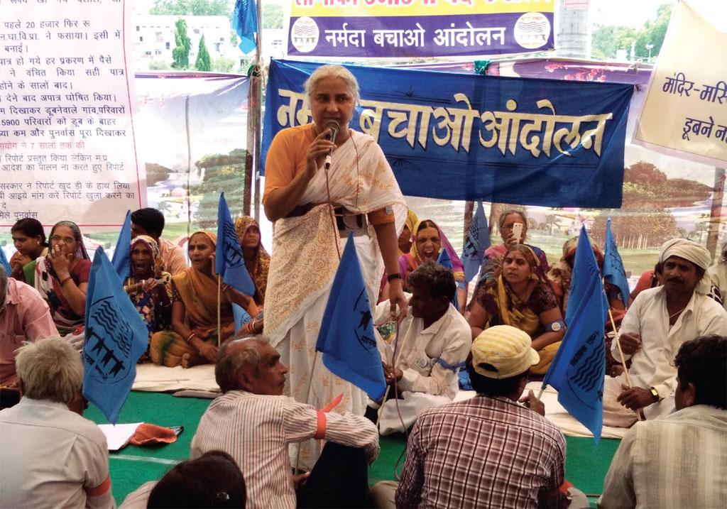 Activist Medha Patkar at a protest in Bhopal on April 28, 2016, organised to restore the rights of the people whose land has been given to the families displaced by the Sardar Sarovar dam (Photo: Rahul Yadav)