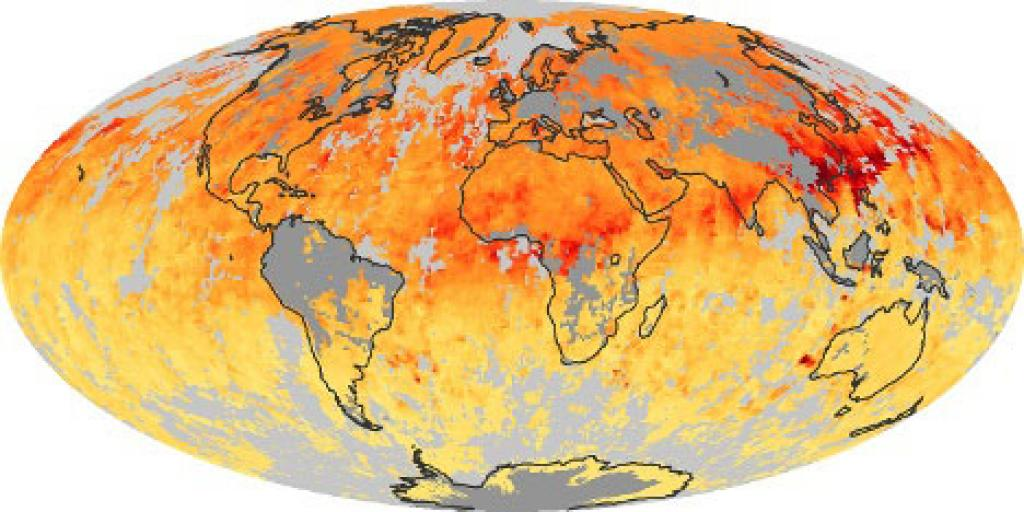 A NASA satellite image shows monthly averages of global concentrations of tropospheric carbon monoxide at an altitude of about 12,000 feet