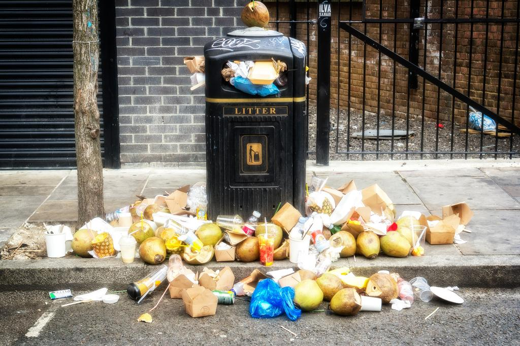 A garbage bin in Brick Lane, London  Credit: Flickr