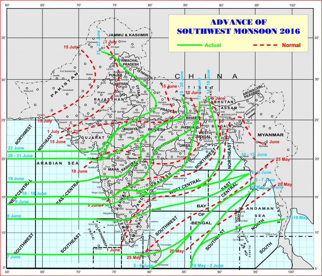 A map showing the progress of the monsoon this year