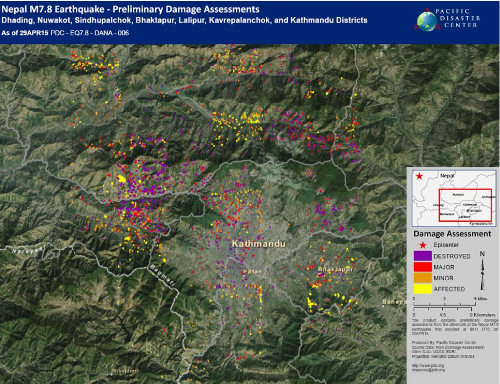 US-based Pacific Disaster Center has mapped preliminary assessments of damage in seven districts of Nepal