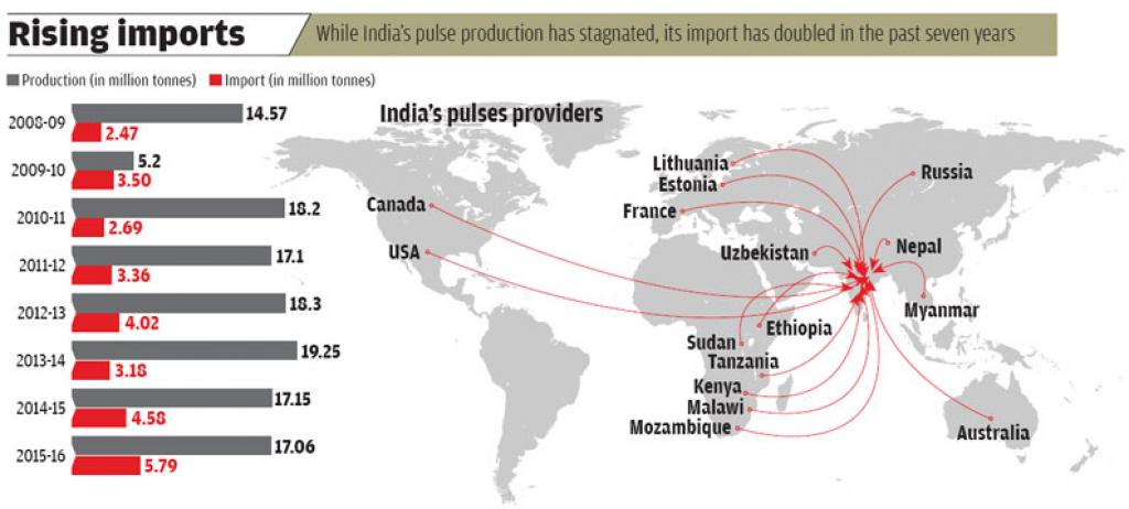 Sources: Indian Institute of Pulses Research; Import data of Department of Commerce data for five primary pulsesÐpeas, chikpeas, moong, lentils and peigion peas