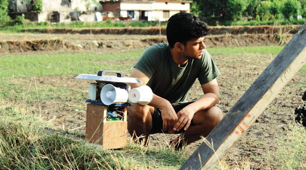 Delhi-based student Abhay Sharma has invented a device that uses sound and light to keep wild animals from entering farms (Source: Abhay Sharma)
