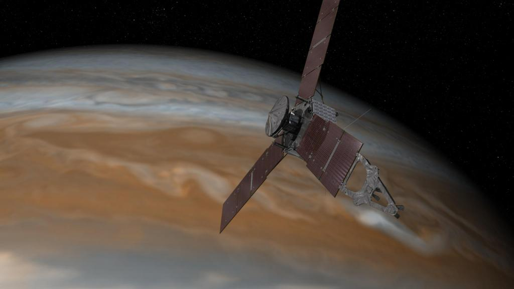 Artist's concept of Juno arriving at Jupiter (Photo credit: NASA/JPL-Caltech)