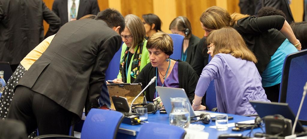 Negotiators at the Vienna meeting of Montreal Protocol parties (Photo credit: http://www.iisd.ca)