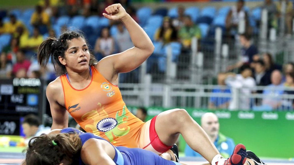 Sakshi Malik from Haryana won a bronze medal in women's wrestling 58kg category (Credit: Prasar Bharati/Twitter)