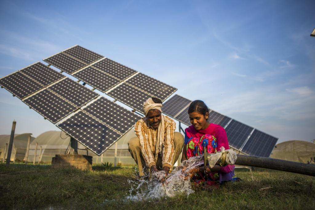 The farmers installed 56.4 kWp of solar capacity, which is used for irrigation and the surplus is sold to MGVCL. Credit: IWMI/Flicker