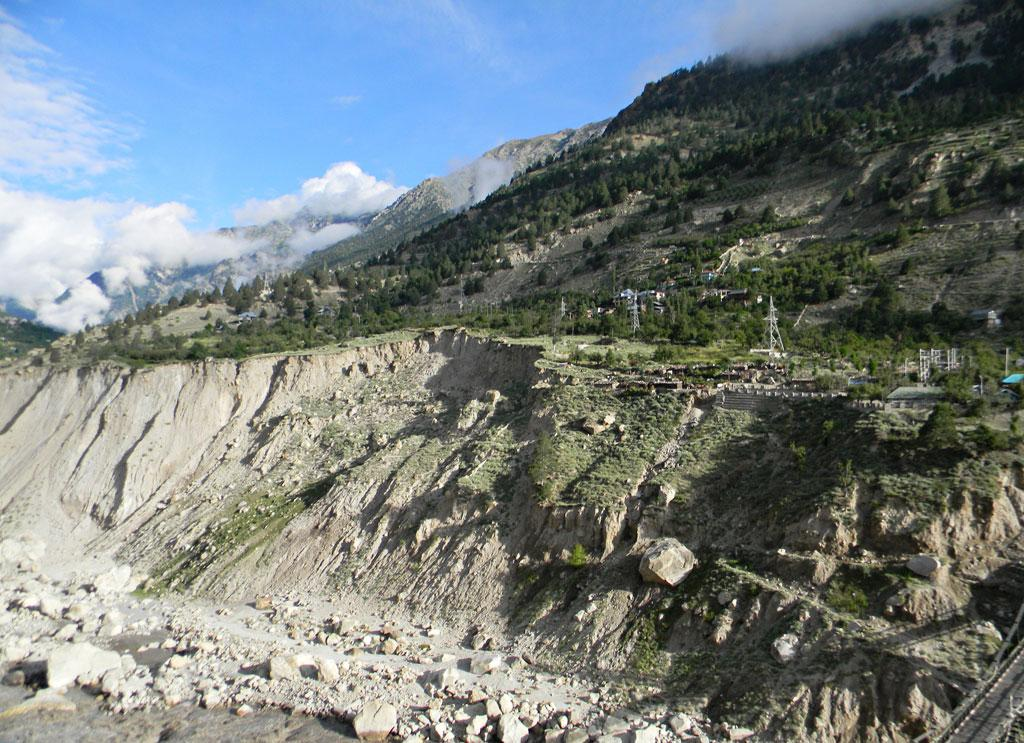 Akpa, Khadura and Rarang villages sitting on a dangerous land slide re-activated during the June calmity. These villages are also going to be affected by the proposed Jangi-Thopan-Powari Hydro Project's tunnel.