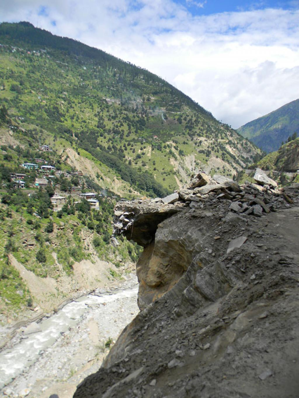 The road from Karcham to Sangla is now dotted with land slide & breakages.