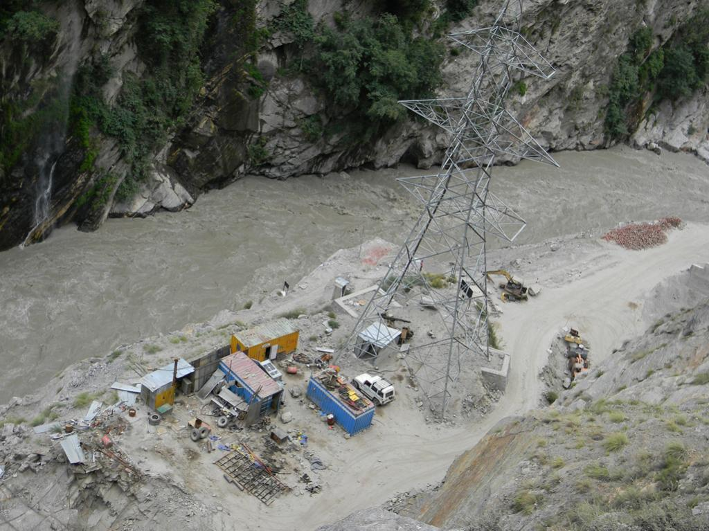 Kashang-I power house site on the right bank of the Satluj whose approach road and machinery got washed away during the June rains.