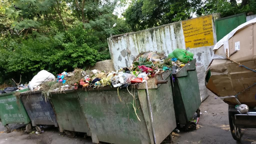 Garbage bins outside a residential block in Vasant Vihar, Delhi (Photo: Apula Singh)