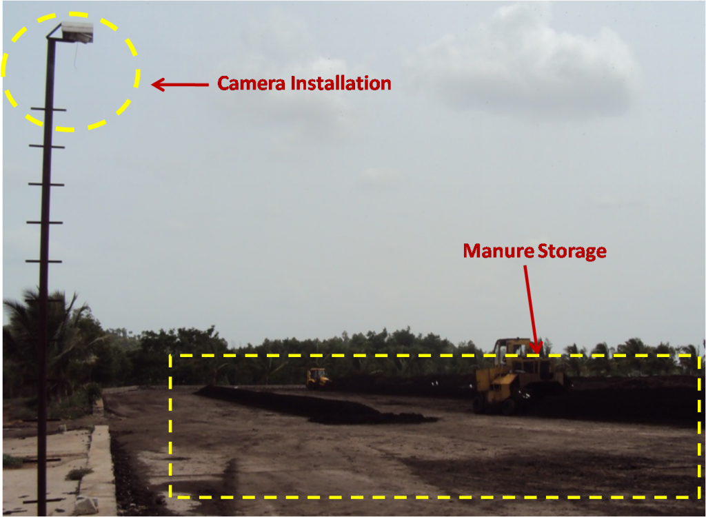 A distillery in Karnataka installed a video camera focusing on the manure storage site, which is where the treated effluent is mixed with manure. Credit: Sanjeev K Kanchan