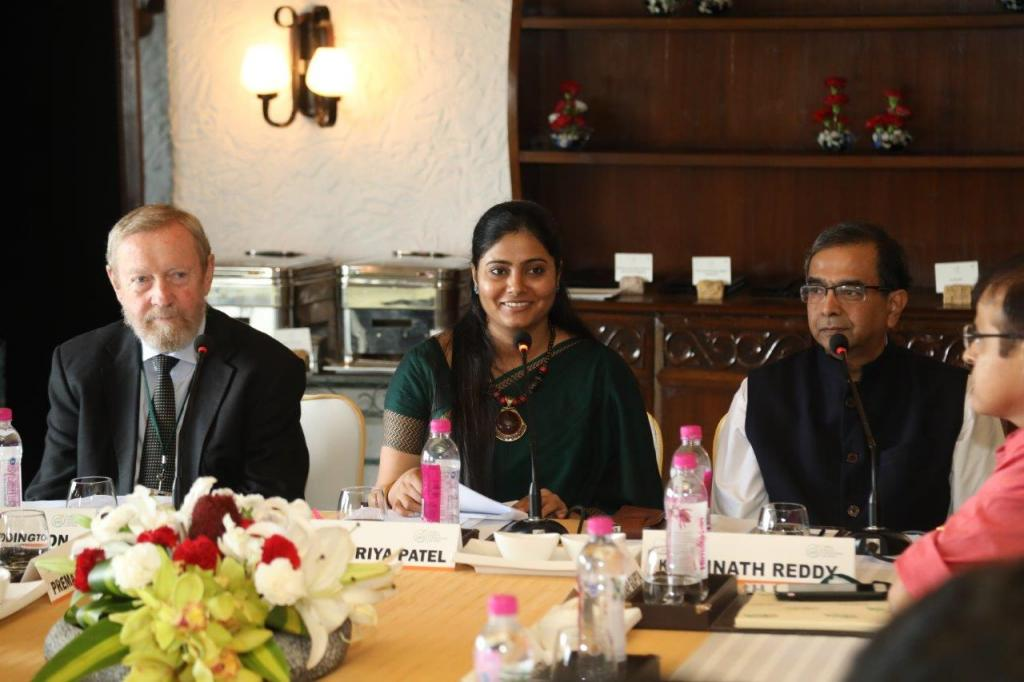 Minister of State for Health and Family Welfare, Anupriya Patel, along with K Srinath Reddy, President - Public Health Foundation of India, and John Beddington, Advisor, University of Oxford launching the SAPLING initiative in New Delhi. Credit: PHFI