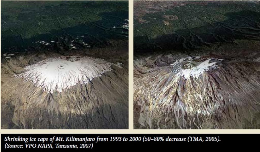 Mount Kilimanjaro, the highest mountain in the continent, has seen consistent melting of its ice caps. Credit: UNEP