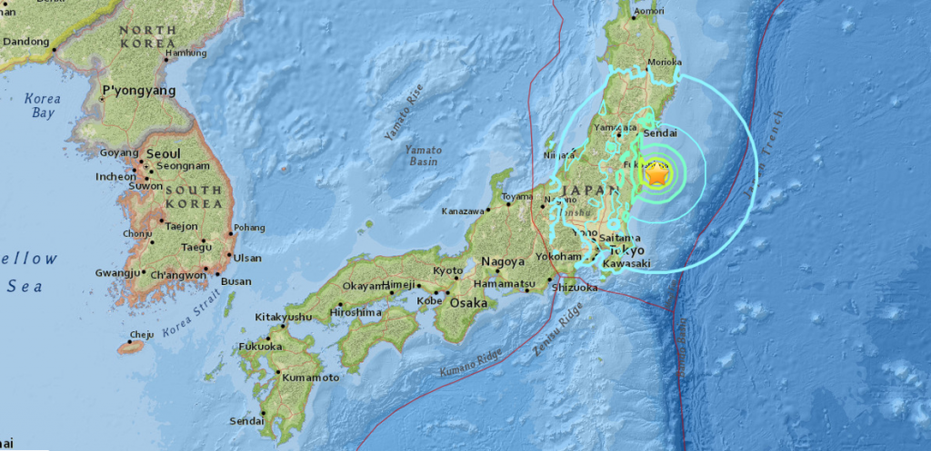 The US Geological Survey map shows the magnitude 6.9 earthquake off the coast of Japan 