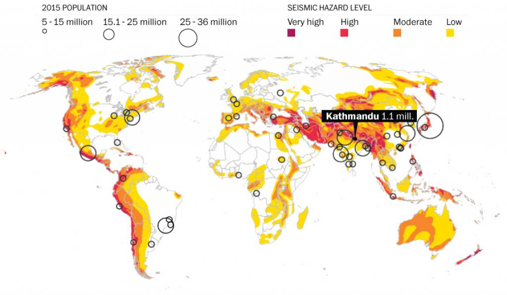 A world map showing most-at-risk places based on hazard level and population density. Credit: Washington Post
