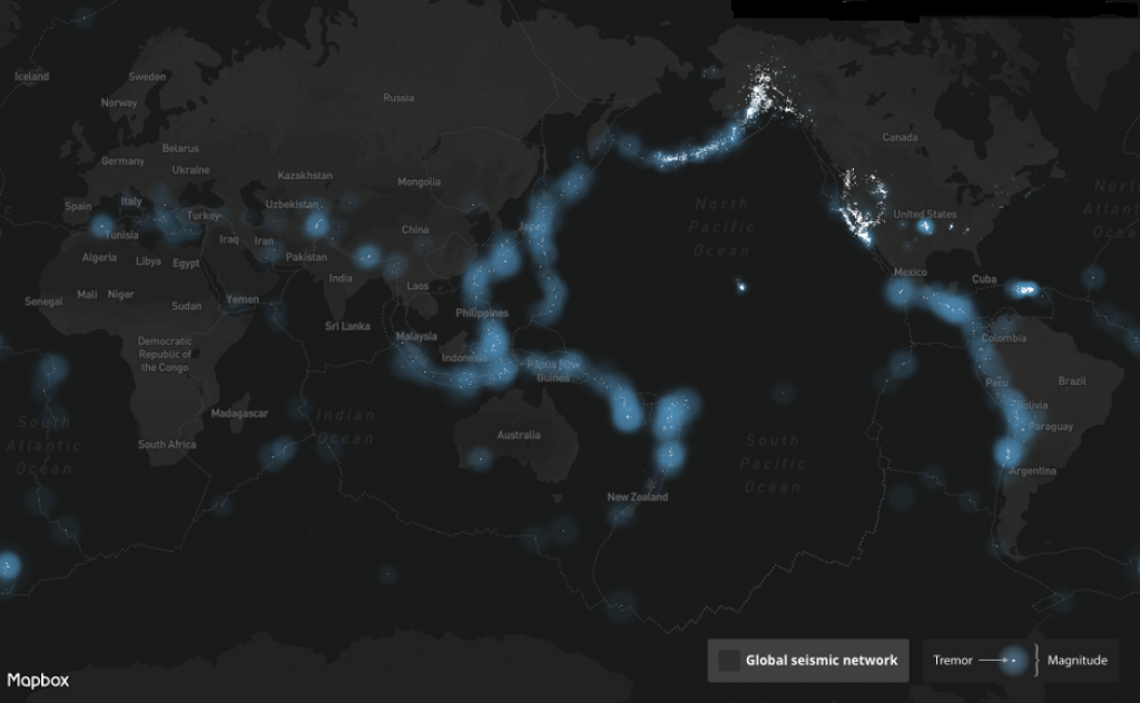 Countries along the Pacific Ring of Fire, where about 90 per cent of the world's earthquakes occur, continue to remain vulnerable. Credit: Mapbox