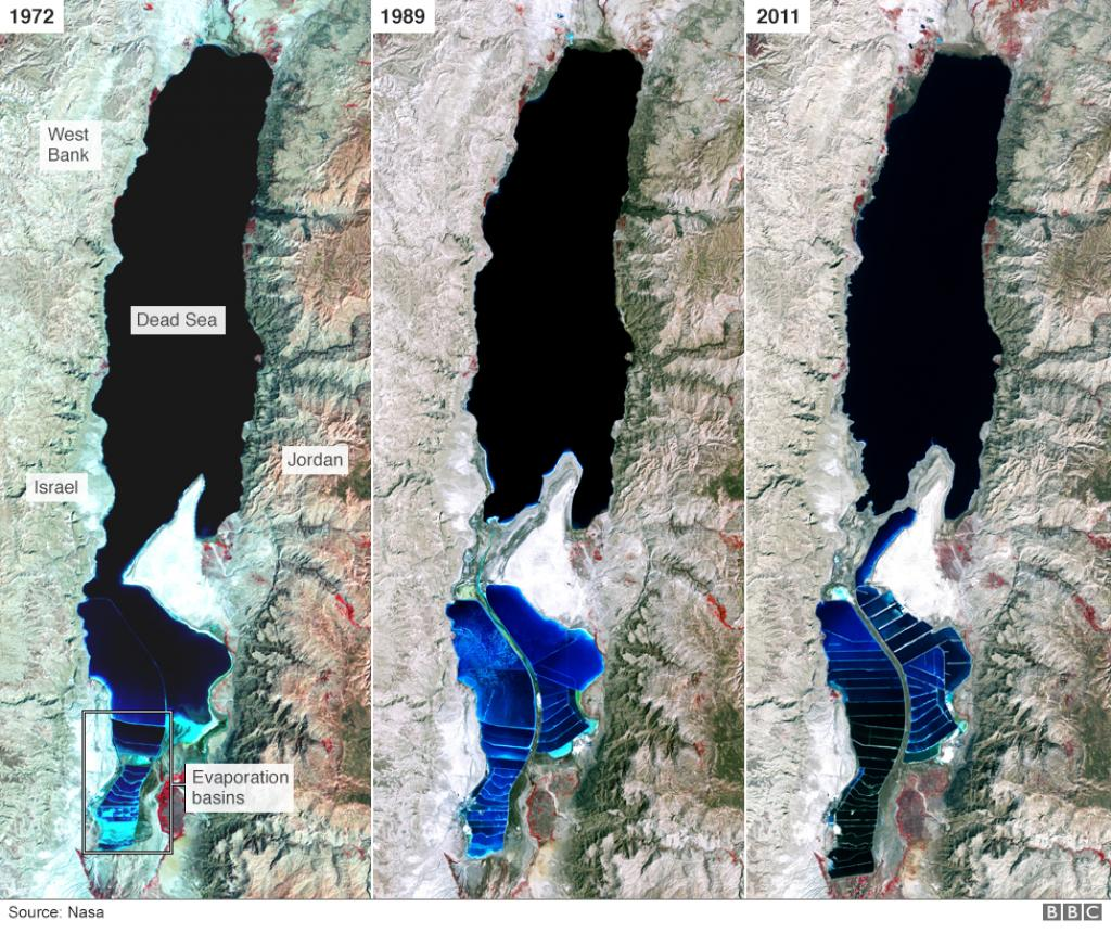 The shrinking of the Dead Sea. Credit: BBC