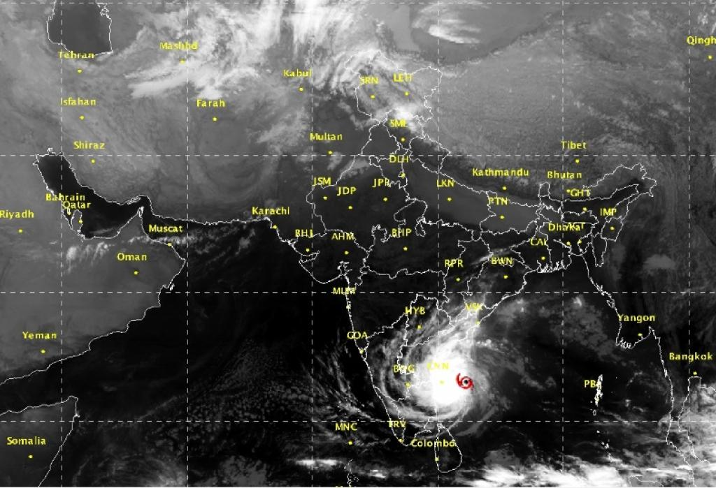 The cyclone lay centered 150 km east-northeast of Chennai and 220 km east-southeast of Nellore at 05:30 AM today. Credit: IMD