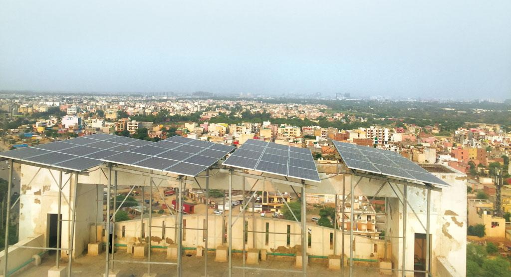 Bestech Park View society in Gurugram installed rooftop solar panels in March and now meets 8 per cent of its electricity requirement from solar power (Photo: Photographs: Sridhar Sekar)
