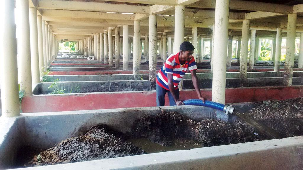 Faecal sludge treatment plant at Bansberia in West Bengal. The company operating the plant recycles faecal sludge and sells the biocompost at Rs 750/50 kg (Photo: Anil Yadav)